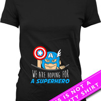 Pregnancy Announcement T Shirt Maternity Clothing We Are Hoping For A Superhero Shirt Baby Shower Gift Pregnancy TShirt Ladies Tee MAT-534