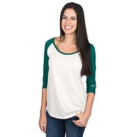 Heathered Baseball 3/4 Tee in Evergreen by Lauren James