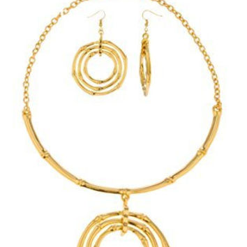 Goldtone Bamboo Style Choker Necklace with Matching Earrings