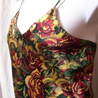 Satin, Chemise Short, Sexy Night Gown, Multi Floral, Green Burgundy, Maidenform, Size L Large, Bridal Honeymoon