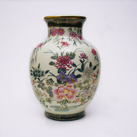 Vintage Oriental Vase Chinese Porcelain Hand Painted Floral Vase Green Yellow Flowers Chrysanthemums Fall Centerpiece Housewarming Gift