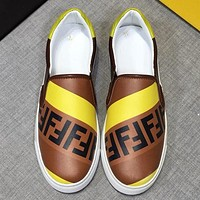Fendi tide brand men's casual wild double F letter men's shoes Brown