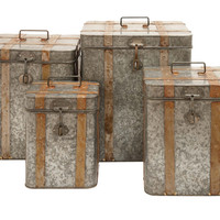 Metal Galvanized Boxes Intricate Design Set of 4