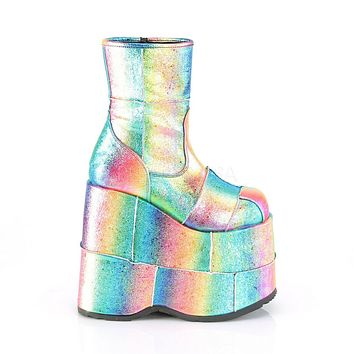 """Stack 201 Rainbow Hologram 7"""" Stacked Platform Ankle Boots"""