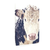 "Debbra Obertanec ""Snowy Cow"" Black White Canvas Art"