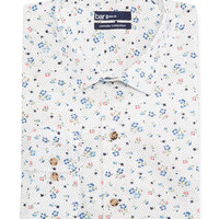 Bar III Carnaby Collection Slim-Fit White Ground Floral Print Dress Shirt