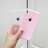 Candy Pink or Clear Transparent IPhone 7 Case Protective Bendy Silicone
