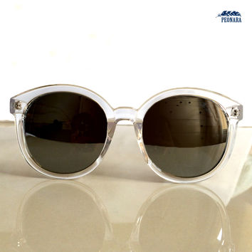 Clear Oversized Circle Mirrored Sunglasses