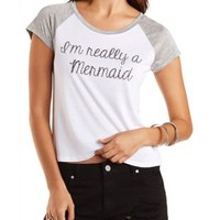 Rhinestone Mermaid Graphic Baseball Tee