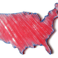 USA map wooden wall decor hand painted in red, white and blue, shabby wall hanging, rustic wall art