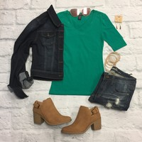 Basic V-Neck Mid Sleeve Tee: Green
