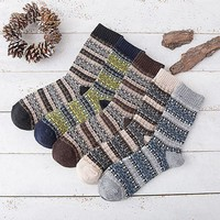 5 Color Casual Knit Wool Socks Warm Winter Mens Boys Male Breathable Socks High Quality