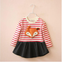 YBR1551834 Retail 2016 New Fashion Baby Grils Blouses Patchwork Fox Striped Toddler Girl Top Casual Girl Clothes