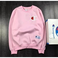 Champion Male and female lovers of cotton and cashmere sweater round neck sweater coat all-match youth trend Pink