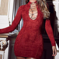 The new v-neck dress with irregular band and long sleeves is sexy and slim