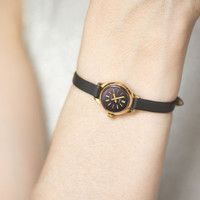 Micro wristwatch vintage, lady's watch black face, gold plated women's watch Seagull, classy watch petite round, premium leather strap new
