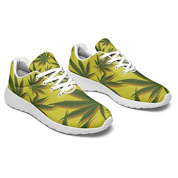 Yellow Cannabis Pattern Sneakers