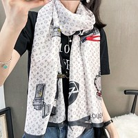 Louis Vuitton LV New fashion monogram print scarf women White