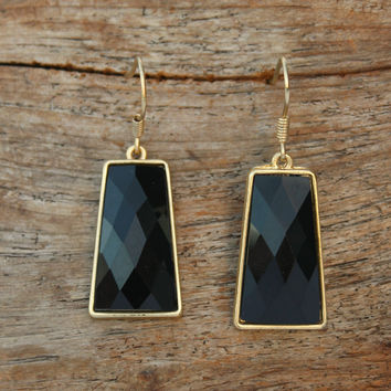 Classic Faceted Earrings, Black