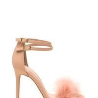 Fluffed Up Faux Leather Heels