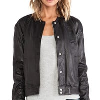 Maison Scotch Basic Leather Bomber in Black