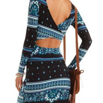 Printed Long Sleeve Bodycon Dress by Charlotte Russe - Black Combo