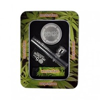 Amsterdam Mini Glass Steamroller Pipe Gift Set with Aluminum Grinder - Glass Pipes - Hand Pipes - Smoking Pipes - Grasscity.com
