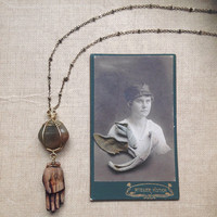 hamsa | wooden hand pendant - hamsa hand necklace - green stone necklace - green agate - witch jewelry