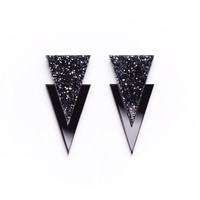 Apache Earrings - Glitter Silver & Black