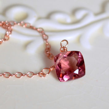 NEW Simple Rose Gold Necklace, Plum Colored Quartz, Cushion Cut, Pink Gold, Gemstone Jewelry, Free Shipping