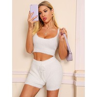 Fluffy Knit Top & Tie Waist Shorts Set