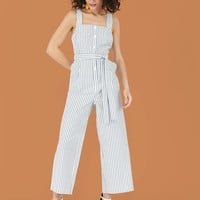 Striped Button-Front Jumpsuit