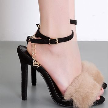 Hot style word buckle with peeptoe thin heel sandals shoes