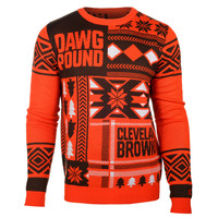 """Cleveland Browns Official Men's NFL """"Ugly Sweater"""" by Klew"""