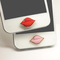 1PC Bling Crystal Red or Pink Hot Lips iPhone Home Button Sticker Charm for iPhone 4s,4g,5,5c Gift for Her