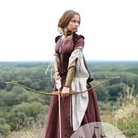 "Medieval renaissance custom flax linen dress ""Archeress"" with chemise and corset"