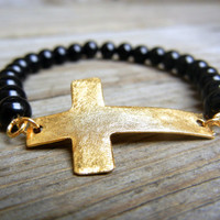 Beaded Stretch Cross Bracelet with Black Onyx Stone Beads and gold or silver sideways cross charm connector summer bracelet