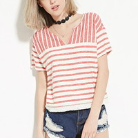 Boxy French Terry Striped Top