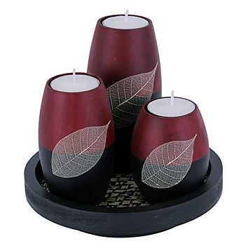 Tea Light Candle Holder Set of 3 with Real Leaf Decorative Candle Holders, Wood Tray