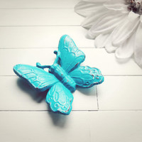 Turquoise Butterfly Wall Hanging / Garden Decor / Home Decor / Woodland / Butterfly Decoration / Butterflies Wall / Turquoise Decor / Home