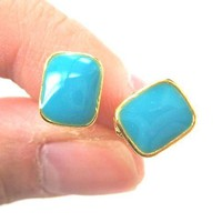 Classic Rectangular Stud Earrings in Turquoise Blue on Gold | DOTOLY