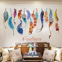 "SWORNA Nature Series Colorful Beautiful Feathers Vinyl Removable DIY Wall Art Mural Sticker Decor Decal - Lady Bedroom Office Sitting Living Room Hallway Kitchen Glass Door Window Nursery 19""H X 29""W"