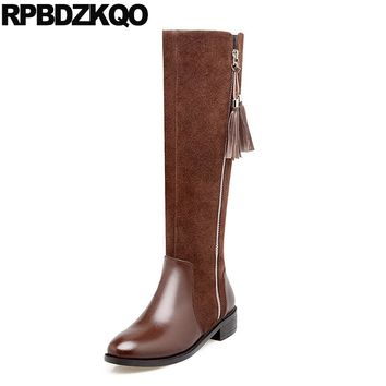 Long Warm Riding Round Toe Vintage Side Zip Boots Knee High Fringe Slim Flat Brown Women Genuine Leather Shoes Female Ladies New
