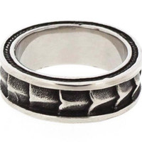 Edforce Stainless Steel Gothic Men's Ring with Dragon Scale Design Size 10