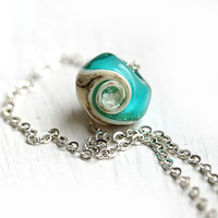 Beach necklace, Ocean teal glass pendant on silver chain, lampwork - beach jewelry - by MayaHoney