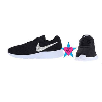 Rhinestone Crystal Kid Black Nike Tanjun Sneakers | 10.5-3