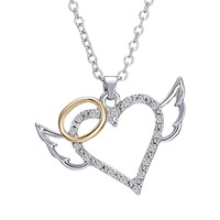 New Fashion Silver Angel Wings Love Heart Pendant Necklace Jewelry Women Elegant Character Fashion Pendants Necklaces Jewelry
