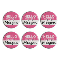 Meegan Hello My Name Is Plastic Resin Button Set of 6