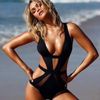 Black Cut Out Deep Plunge Sheer Swimsuit
