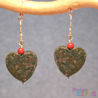 "Red coral on green turquoise hearts, 1"" Earring Gold Or Silver"